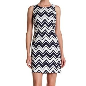 Eliza J Navy & White Zig Zag Chevron Midi Dress